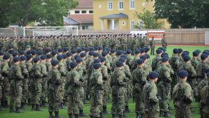 Sotilasparaati Tammisaaressa, alokkaita nurmikentällä