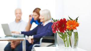 några äldre och en vårdare vid en bärbar dator . Man kan inte urskilja personernas ansikten.