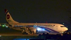 Ett kapat Bangladesh Biman-plan efter nödlandning på Shah Amanat-flygfältet i Chittagong 24.2.2019