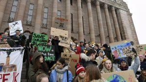 Unga demonstranter på riksdagshusets trappa 11.1.2019.