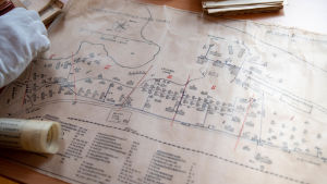 arkeologiskt fynd, en karta över tulludden i Hangö.