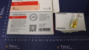 En ampull innehållande dopningsmedel i beslag hos Tullen.