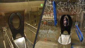 En jämförelsebild mellan en ren och en nedklottrad toalett.