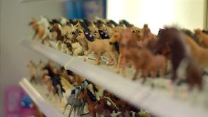 En hylla fylld med hästfigurer i olika raser.