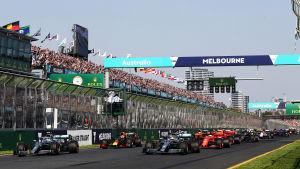 Starten i Melbourne Australiens GP.