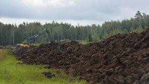En grävmaskin i en blivande våtmark. Stora torvhögar.