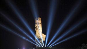 Belysning kring Westerplatte-monumentet i Gdansk, Polen.
