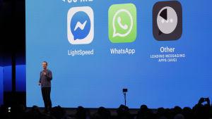 Mark Zuckerberg håller ett föredrag framför en blå bakgrund med några appsymboler som projiceras.