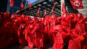 Den rödklädda aktivistgruppen Red Rebels under en klimatprotest i Berlin.