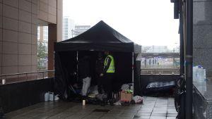 Tält som rests för att demonstrera mot Migri