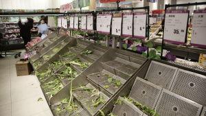 Grönsakshyllor gapar tomma i en butik i Wuhan efter att myndigheterna försatt staden i karantän.