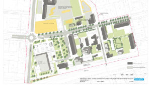 Nya planförslaget i kartform över Varuboden-Oslas planer för ny market i Hangö.