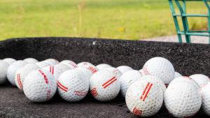 Flera golfbollar bredvid varandra på en grå yta. I bakgrunden syns gräs och en grön korg.
