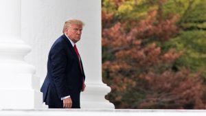 Donald Trump ser argt på fotografen, med Vita husets vita pelare i bakgrunden