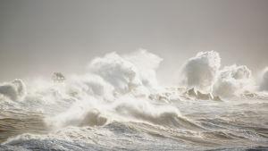 Stormvågor utanför Helgoland.