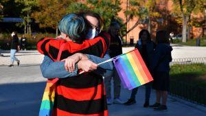 Manifestation i Ancona till stöd för en ny lag som skulle göra homofobi olagligt.