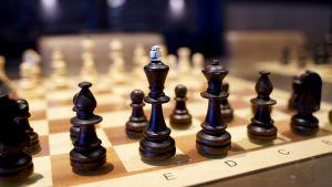 Schackpjäser på ett schackbräde.