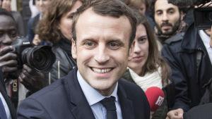 Franska politikern Emmanuel Macron under valkampanjen 2017