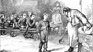 oliver twist står vid grytan i barnhemmet och frågar efter mera mat i charles dickens roman med samma namn.