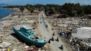Delar av den förstörda kusten i Palu. Bilden tagen på måndagen 1.10.2018.