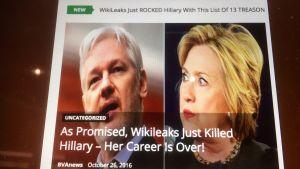 Ett exempel på en artikel publicerad på en makedonsk fejknyhetssida där texten påstår att Wikileaks har bevis på att Hillary Clinton har begått 13 högmålsbrott