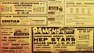 Annons i tidningen Västra Nyland om att Hep Stars uppträder på Ramsholmen i Ekenäs.