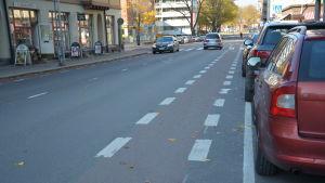 En cykelbana längs Humlegårdsgatan i Åbo.