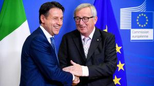 Giuseppe Conte och Jean-Claude Juncker