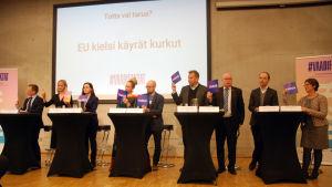 Röstning i valdebatt om myter förknippade med EU.