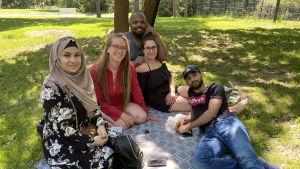 En grupp människor sitter ute i en park på sommaren.