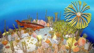 Konstnärens vision av havet under perioden devon.