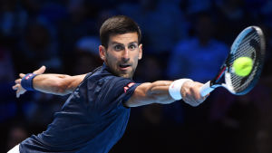 Novak Djokovic i elden vid ATP-finalerna i London.