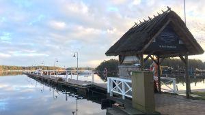 Brygga i Nagu gästhamn i januari 2018