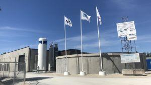 Vattenreningsverkets byggnad i Kvarnåkershamn, Gotland.