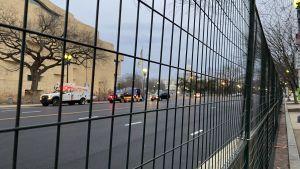 Gatorna i centrum av Washington DC är avstängda med stängsel