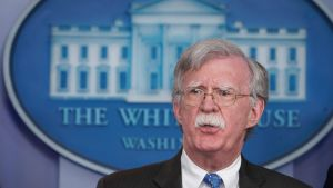 Säkerhetsrådgivaren John Bolton under en presskonferens i Vita huset i januari 2019.