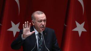 Recep Tayyip Erdoğan reser ena handen medan han talar. I bakgrunden Turkiets flagga.