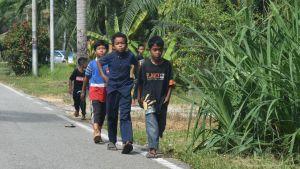 Bild på fyra barn som går vid väggrenen på en asfalterad väg. Bredvid växer gröna växter.