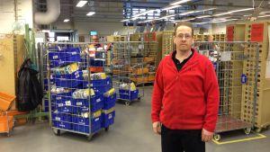 Förtroendeman Jesper Sundström på Itella i Karleby