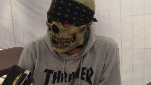 """""""Dr Toxic"""" från thrash-bandet Dr. Living DEAD! På Tuska 2015."""