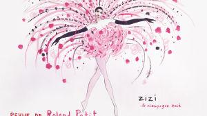 Muotopiirros jossa paljon pinkkiä, riikinkukkomainen takamus naisella.