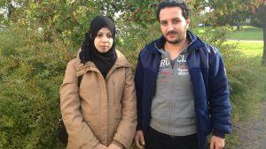 Abeer och Akram Alzoubi anlände till Kronoby 2.9.2014.