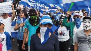 Demonstranter maskerade och klädda i Nicaraguas vit-blåa färger.
