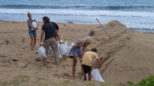 Människor fyller påsar med sand för att förbereda sig för orkanen Douglas