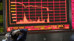 Kursras på den kinesiska börsen den 4 januari 2016.