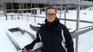 Sofia Grynngärds grönkålsland är välinhägnat. Här skördade hon grönkål till julbordet.