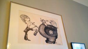 Karikatyr från skattedebatten som Lindgren initierade via sagan om Pomperipossa år 1976.