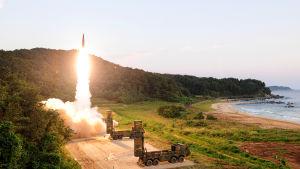 Sydkoreanerna testade bland annat missilen Hyunmoo-2 på landets östkust