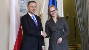 Polens president Andrzej Duda och riksdagens talman Maria Lohela.
