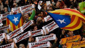 Demonstranter på Barcelonas gator.